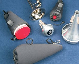 The Mute Case stretches to accommodate a variety of sizes and types of mutes
