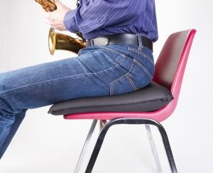 The Posh-Rite™ seat cushion encourages good posture during practice or while performing