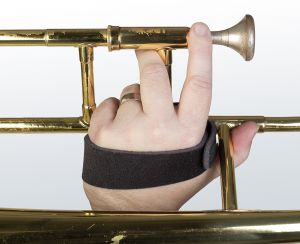 The Trombone Grip™ balances the weight of your instrument and gives you added control