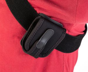 The Wireless Pouch™ Adaptor Kit can be worn around the shoulder (Wireless Pouch™ sold separately)